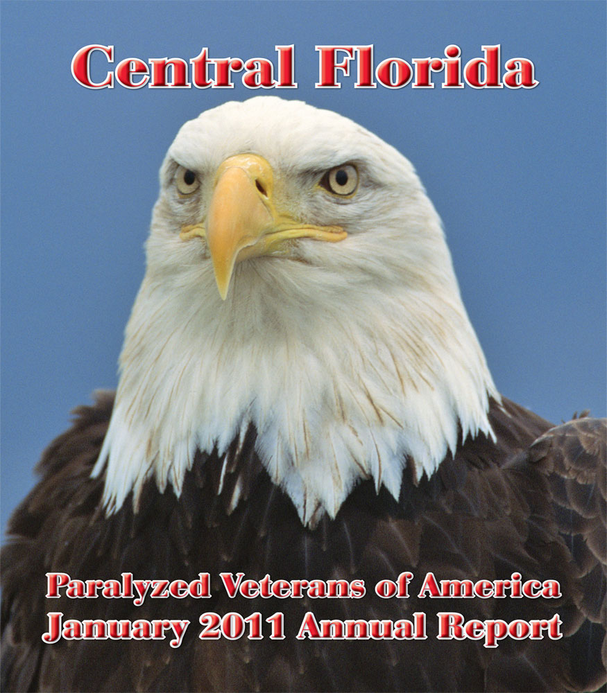 Central Florida Paralyzed Vetrans of America Annual Report with an eagle on the cover.