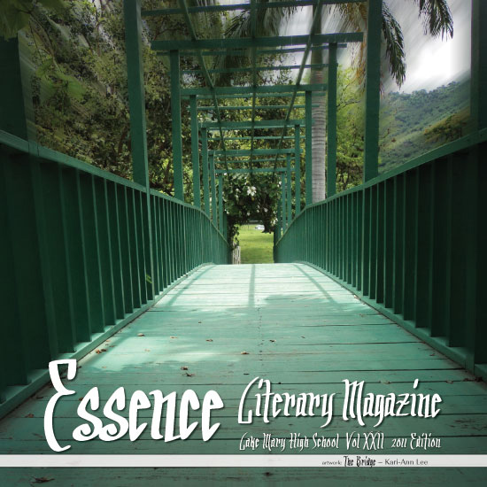 Example of a printed book for Essence with a green bridge on the cover leading into a forest
